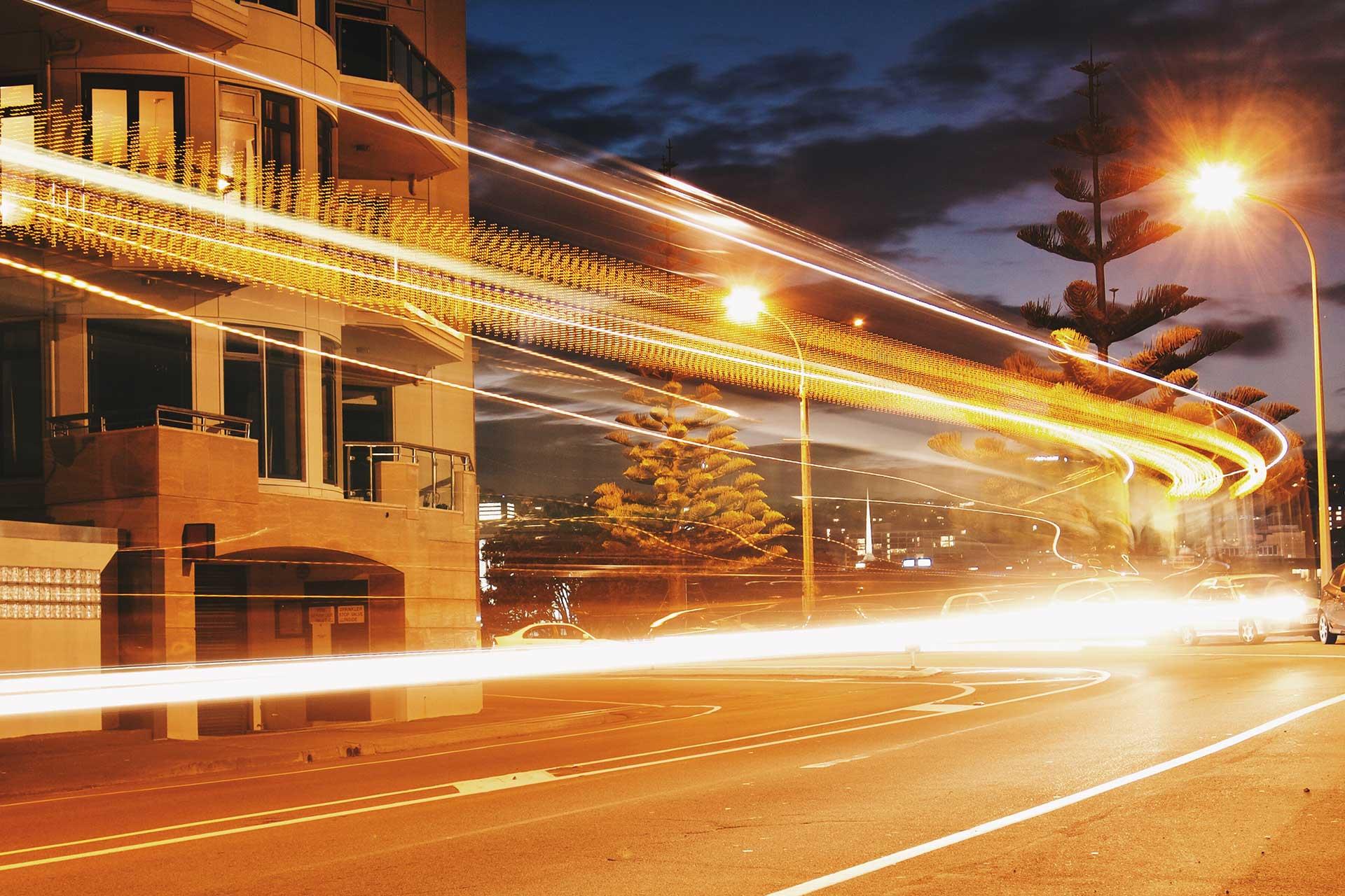 Lightstream on a busy street